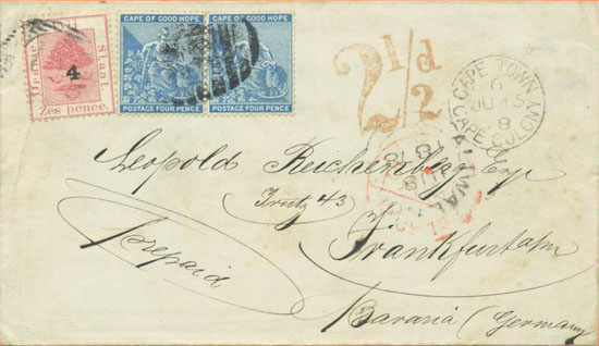 An OFS/CGH combination cover from Rouxville to Frankfurt, Germany, 3rd June 1878
