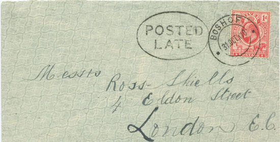 Posted Late at Boshof 31 October 1910