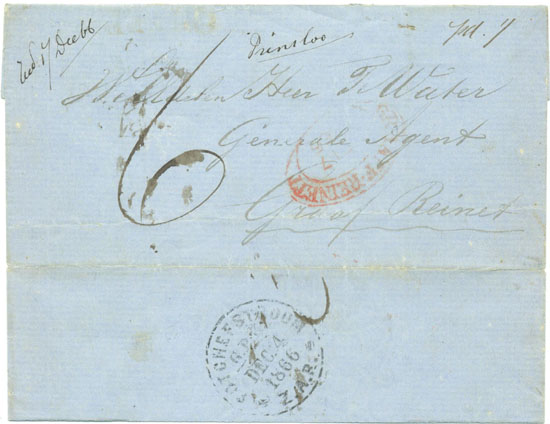 A triple combination pre-stamp cover of 1866 from the South African Republic to the Cape of Good Hope via the Orange Free State