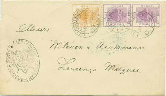 A Boer cover with an oval Boer censor mark from Luckhoff 4th February 1900.