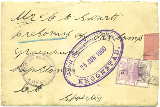 A prisoner of war cover with an oval British censor mark from Kroonstad 25th June 1900.