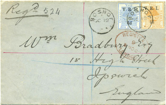 "Registered to England from Boshof 12th October 1900 with stamps overprinted ""V.R.I."" and value."
