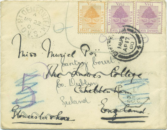 An attempt to use the invalidated stamps in Bloemfontein just after the occupation.